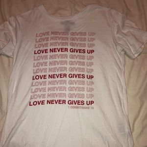 """love never gives up"" forever 21 shirt"